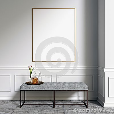 Poster Mockup in Interior with decorations Stock Photo