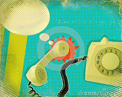 Poster with old fashioned telephone
