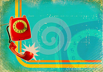 Poster with old fashioned telephone on retro paper