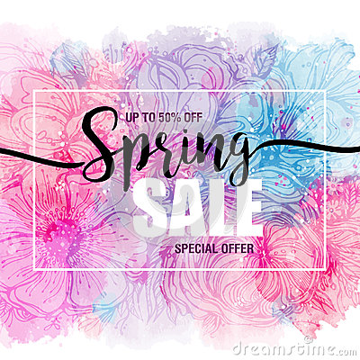Free Poster Spring Sales On A Floral Watercolor Background. Card, Label, Flyer, Banner Design Element. Vector Illustration Royalty Free Stock Image - 86283706
