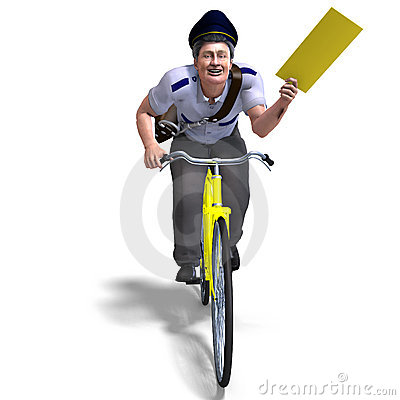 A postman on a bike with a letter