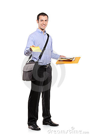 A postman delivering mail