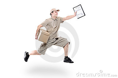 Postman on a hurry delivering package