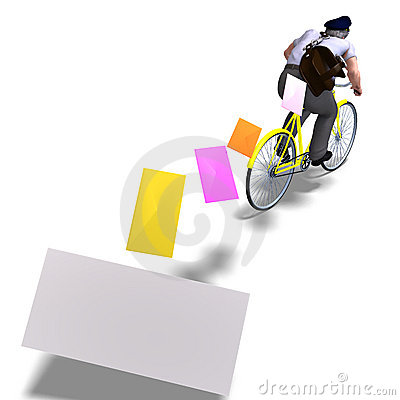 Free Postman On A Bike With Invitations. 3D Rendering Stock Photography - 14576242