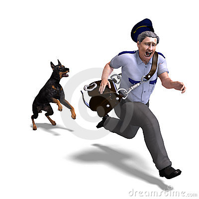 The postman runs from the dangerous dog. 3D