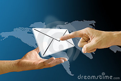 Postman s hand carry mail icon to receiver