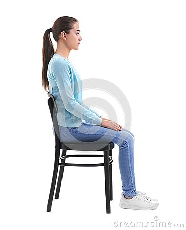 Free Posture Concept. Young Woman Sitting On Chair Stock Photography - 105542132