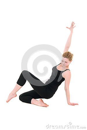 Posture of young dancer coach in black
