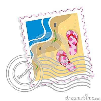 Postzegel met roze pantoffels