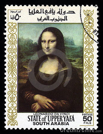 Postzegel Mona Lisa de Zuid- van Arabië