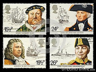 Postzegels van de Geschiedenis van Groot-Brittannië de Zee