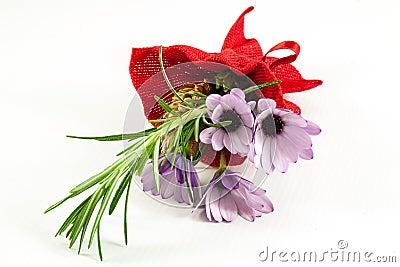 Posy of purple daisies