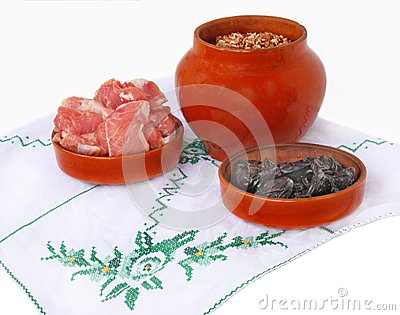 Pot with buckwheat porridge