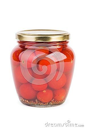 Pot en verre avec les tomates cerises marin es photo stock image 50432758 - Tomate cerise en pot ...