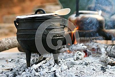 Pot on fireplace