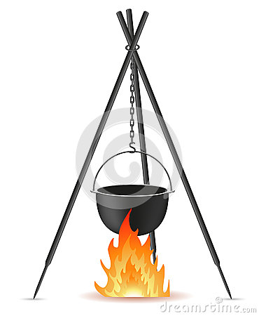 Free Pot For Cooking Over A Fire Vector Illustration Royalty Free Stock Photography - 30199367