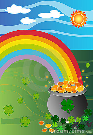 Pot Of Gold Coins At The End Of The Rainbow Royalty Free Stock ...