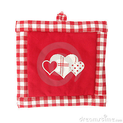 Pot holder lovely red and white with hearts