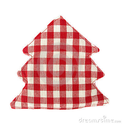 Pot holder lovely red and white shaped as conifer