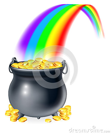 Free Pot Of Gold At The End Of The Rainbow Stock Photography - 36061322