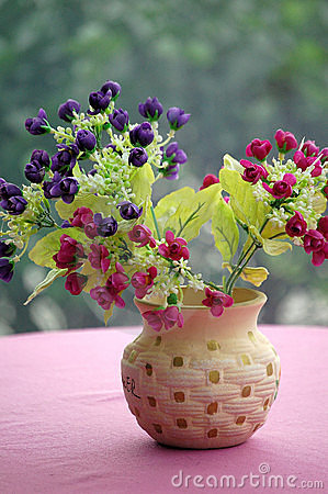 Free Pot Of Plastic Flowers Royalty Free Stock Image - 5836236