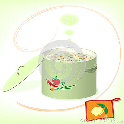 Pot with soup on the green background