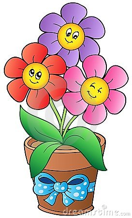 Cute Cartoon Flowers With Faces Pot Three