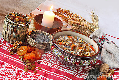 Pot with traditional Christmas porridge