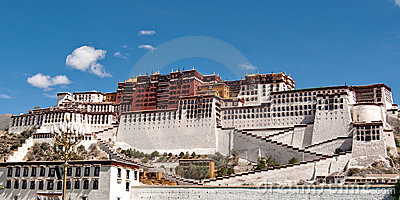 Potala palace against a blus sky in Lhasa, Tibet