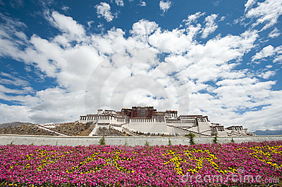 Potala palace in Lhasa with flower decoration