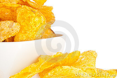 Potato Chips in a bowl (with clipping path)