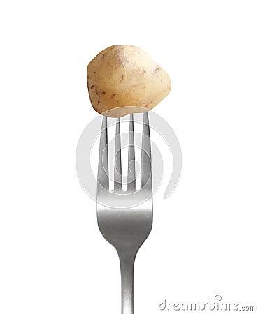 Potato on fork