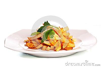 Potato fries on a plate