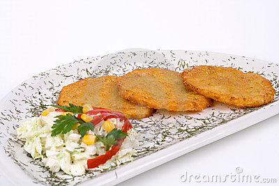 Potato Pancake / Griddle Cake on plate isolated