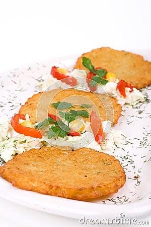 Potato Pancake / Griddle Cake on plate isolated