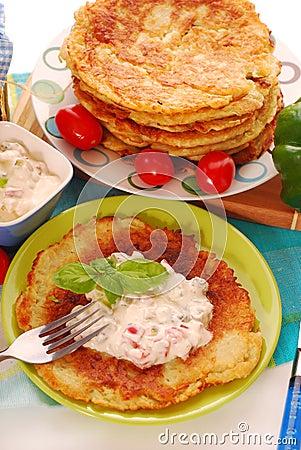 Free Potato Pancakes With Creamy Cheese Stock Photo - 20415080