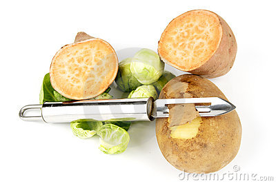 Potato with Peeler and Sweet Potato