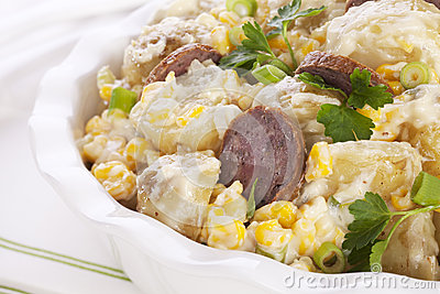 Potato Salad with Sausage and  Corn