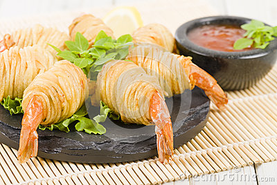 Potato String Prawns