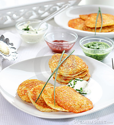Free Potatoe Pancakes With Three Dips Royalty Free Stock Image - 24243936