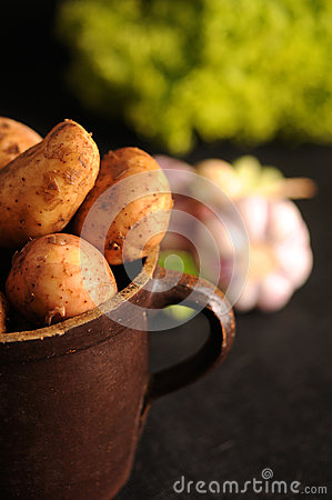 Potatoes in a clay pot