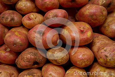 Potatoes raw vegetables food pattern in market