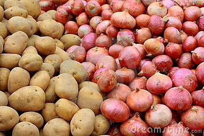 Potatoes and red onions