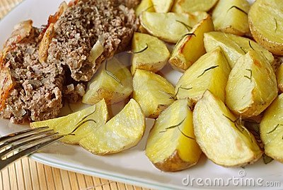Potatoes roasted and meatloaf