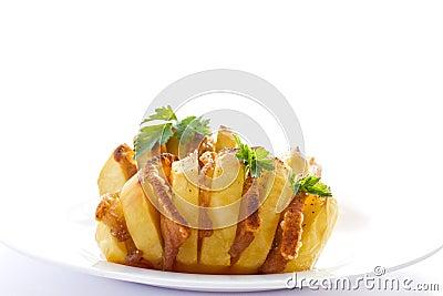 Potatoes stuffed with bacon