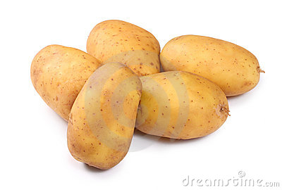 Potatoes on white