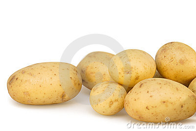 Potatoes on white isolated