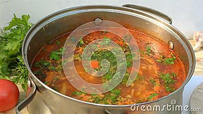 Pote con un borsch apetitoso y sabroso hecho en casa Sopa de verduras roja de las remolachas, hirviendo en un cazo almacen de video