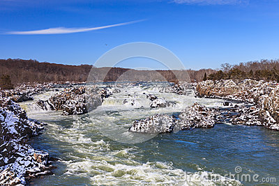 Potomac River in Winter at Great Falls National Park Virginia