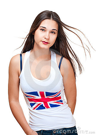 Potrait of asian girl wih britain